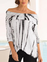 Load image into Gallery viewer, Off Shoulder Printed Long Sleeve T-Shirts