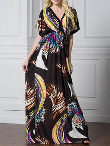 V Collar Printing Ice Silk Fabric Beach Vacation Dress