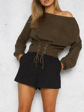 Load image into Gallery viewer, Long Sleeved Waist Belt Sexy Trim Sweater