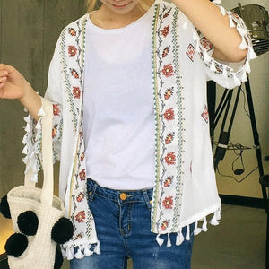 Fashion National Embroidery Fringe Outwear