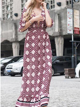 Load image into Gallery viewer, Sexy Fashion Casual Slim Rhombus Medium Sleeve Maxi Dress
