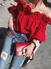 Load image into Gallery viewer, Sexy Off Shoulder Red Flouncing Blouse