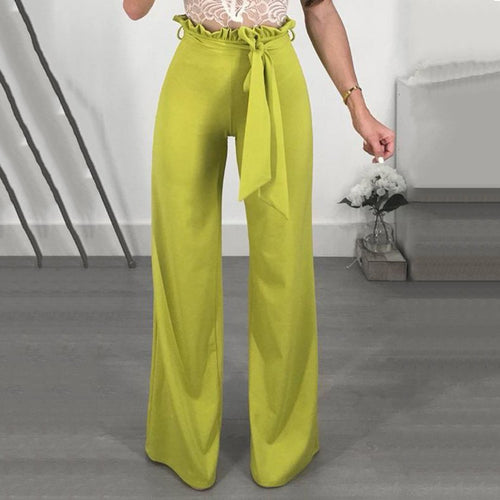Fashion Casual Plain Chiffon Loose Long Pants