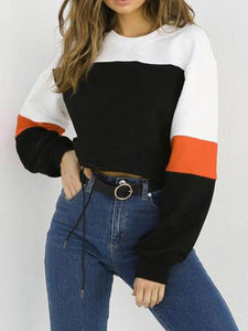 Fashion Contrast Round Neck Long Sleeve Sweatshirt