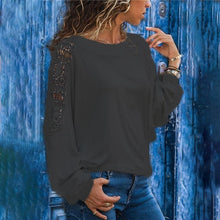 Load image into Gallery viewer, Round Neck Long Sleeve Lace Patchwork T-Shirts