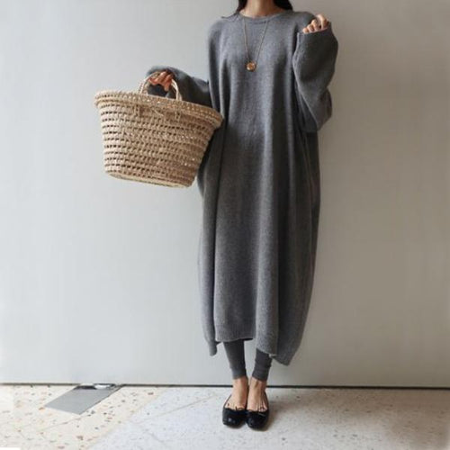 Fashion Casual Loose Thicker Knitted Maxi Dress
