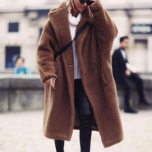 Lapel Long Sleeve Plain Coat
