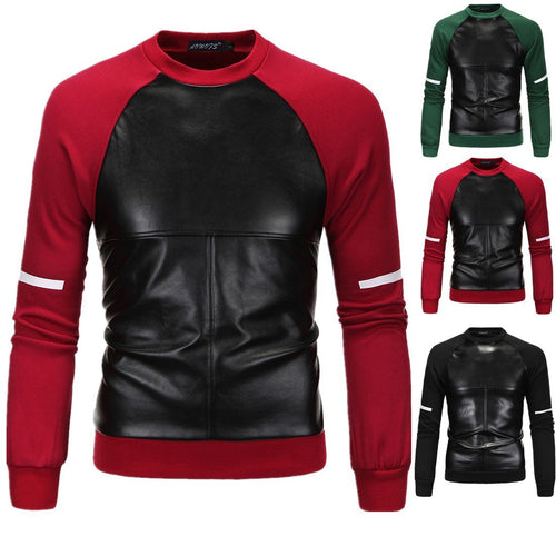 New Men's Woolen Head Cover Leather Printing Long Sleeve Top