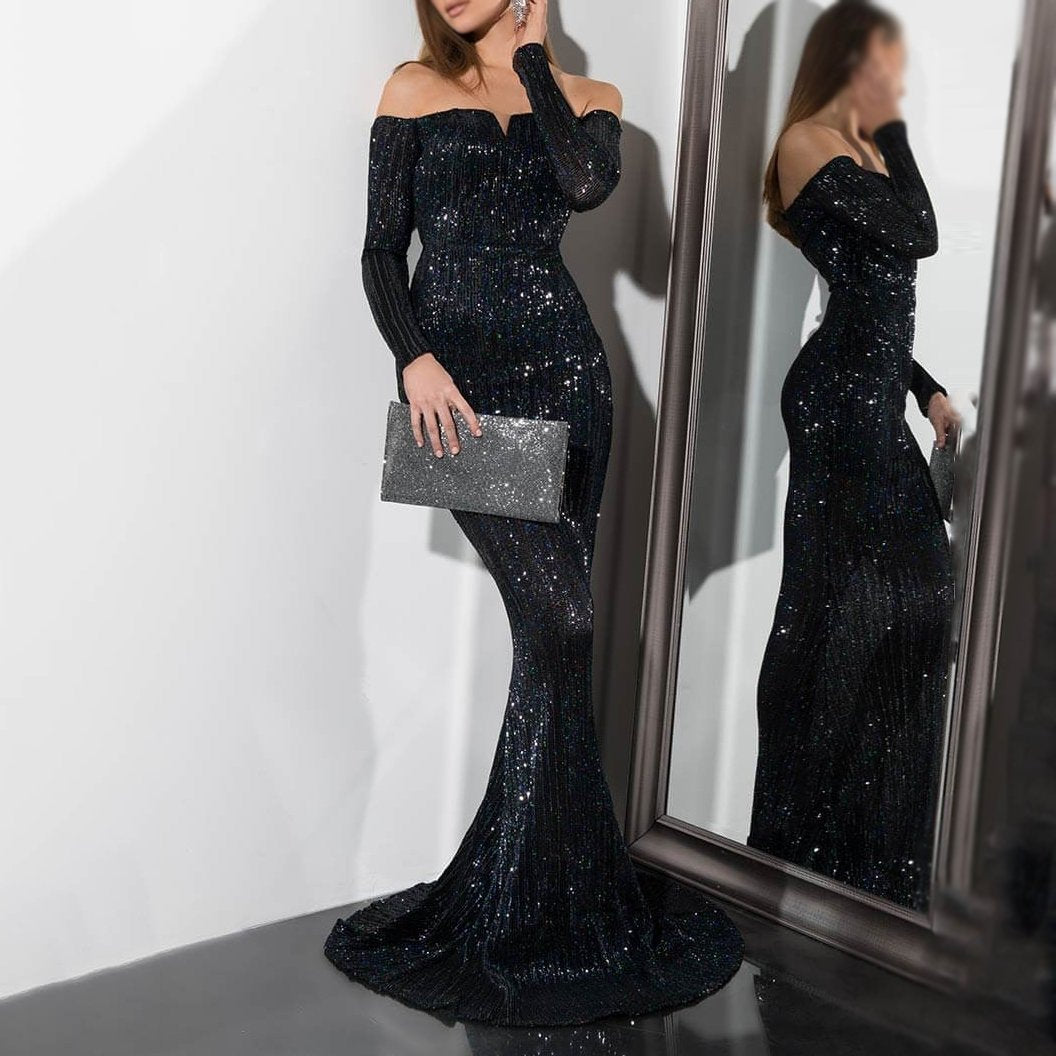 Sexy Off Shoulder Long Sleeve Slim Shiny Evening Dresses