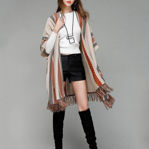 Women's Knitwear Shawl Cardigans Striped Tassel Cardigan