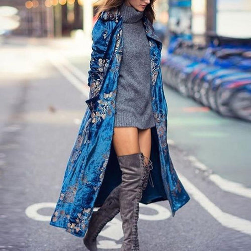 Velvet Printed Long Trench Coat