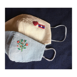 Cotton Reusable Face Mask with Embroidery