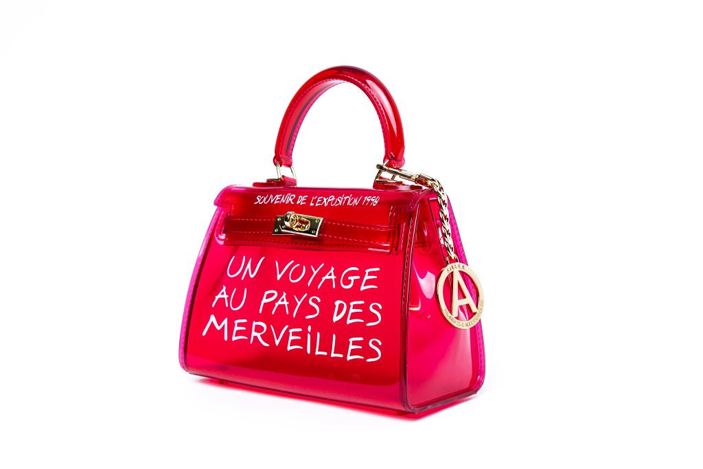 Translucent French Graffiti Handbag - Red