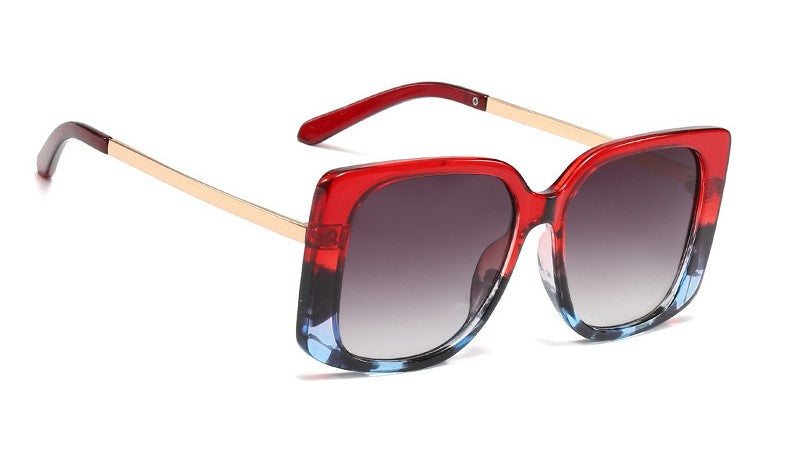 Defined square-frame sunglasses - Red/Blue