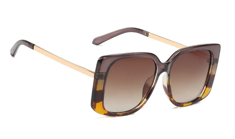 Defined square-frame sunglasses - Brown/Yellow