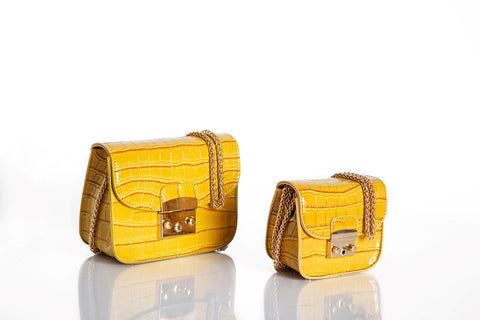 Jewel Vintage Saddle Crossbody Petite - Citrine