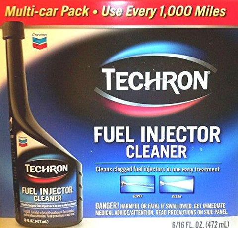 Chevron Techron Multi-car Pack - Fuel Injector Cleaner - One Easy Treatment - for Every 1,000 Miles - (16 Oz Bottle) - [Case of 6]