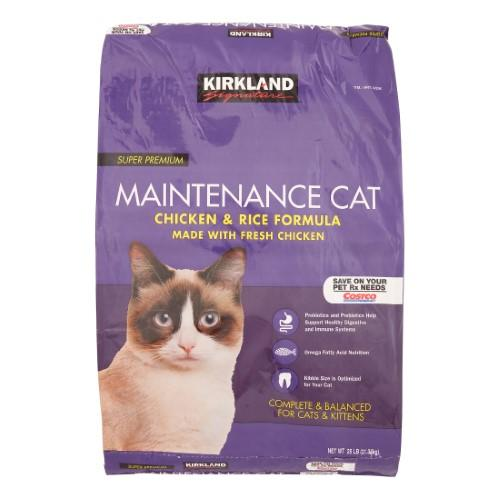 Kirkland Signature Super Premium Maintenance Chicken & Rice Formula Cat Food, 25 Lb