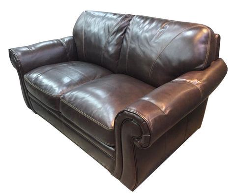 Brown leather two seater couch