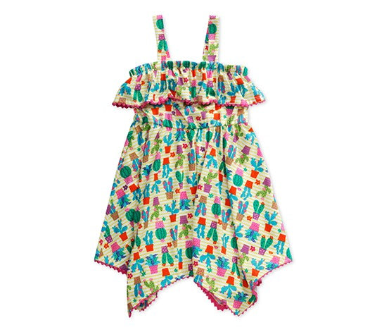 SWEET HEART ROSE CACTUS-PRINT POM-POM DRESS, YELLOW/WHITE