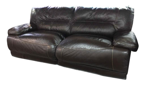 Dark brown leather three seater couch