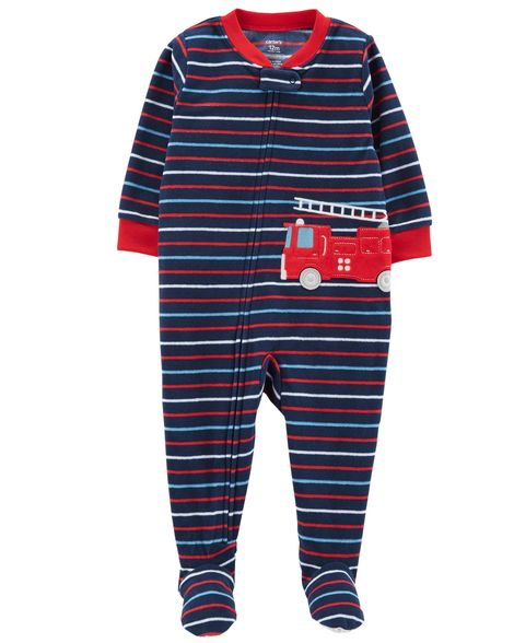 Carter's 1 piece jumpsuit red stripes fire truck