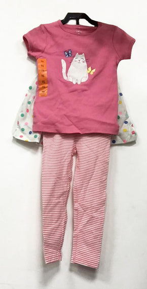 Carter's 3 pieces fushia top with white cat size 2T