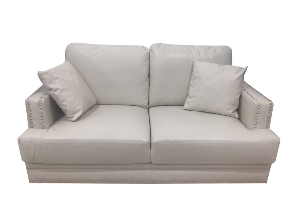Beige leather two seater couch