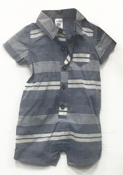 Carter's grey blue with white stripes romper