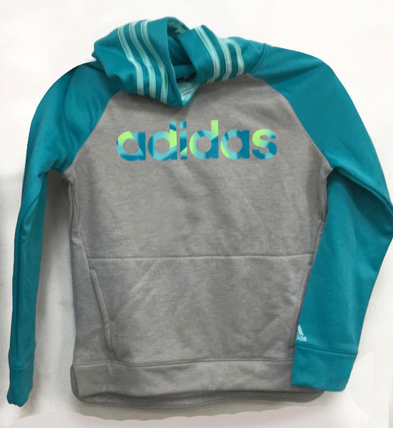 Adidas grey heather/vapour blue hoodie 12/14 years