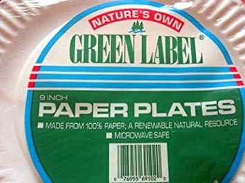 Nature's Own Green Label  9 Inch Paper Plates, 620 Count