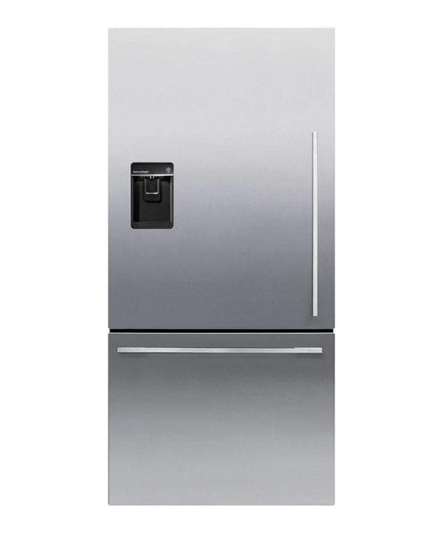"Fisher Paykel RF170WDLUX5 32"" 17.1 Cu. Ft. Capacity Bottom Freezer Refrigerator with Independent Temperature Control LED Lighting Ice and Water Dispenser in Stainless Steel"