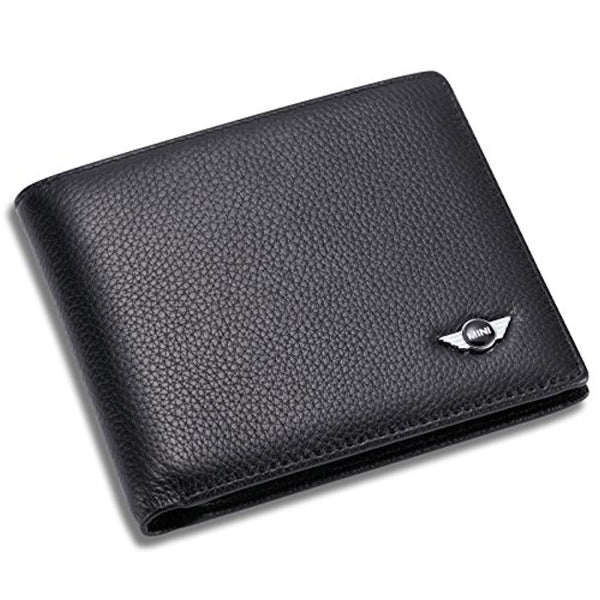 Mini Cooper Bifold Wallet with 3 Card Slots and ID Window - Genuine Leather