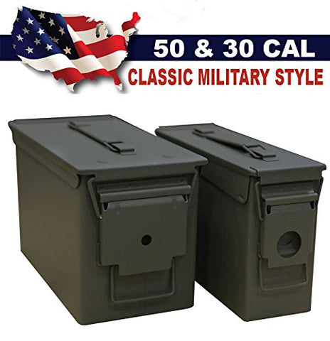 Classic Military Styling Sealed Lid Steel Ammo Can Double Pack with 50 Caliber Ammo Can (M2A1) and 30 Caliber Ammo Can (M19A1)