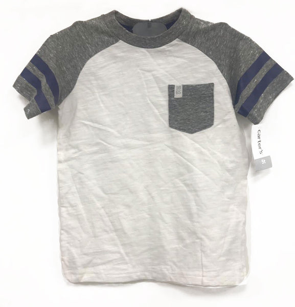 Carter's white boys shirt with silver sleeves