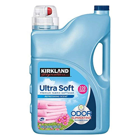 Kirkland Signature Ultra Soft Premium Liquid Fabric Softener: Odor Eliminating Refreshing Scent - 187 fl. oz (220 Loads)