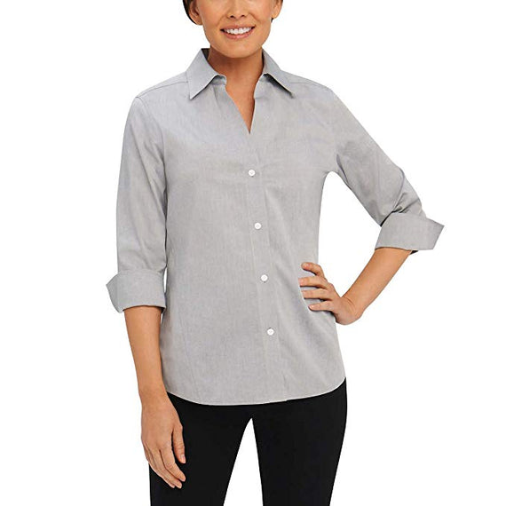 Foxcroft Nyc Non-iron Stretch Easy Care Poplin Blouse Shirt 3/4