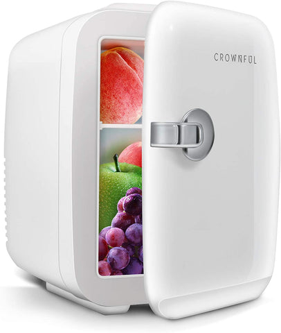 CROWNFUL Mini Fridge, 4 Liter/6 Can Portable Cooler and Warmer Personal Fridge for Skin Care, Cosmetics, Food, Great for Bedroom, Office, Car, Dorm, ETL Listed (White)