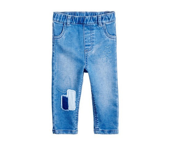 FIRST IMPRESSIONS SHADOW-PATCHES PULL-ON JEANS, AUTHENTIC WASH 3-6m