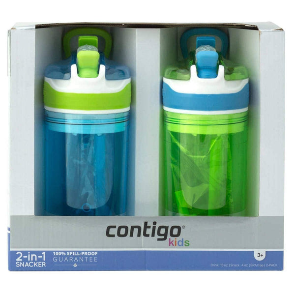 Contigo Kids 2-in-1 Snack Hero Tumbler Featuring 4oz Snack Holder Stacked on Top