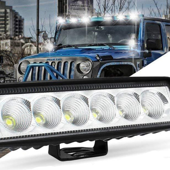 Led Light Bar, Modern Car 6 Inch 18W Led Flood Beam Back Up Light Driving Fog Light Off Road Lights Boat Lights Driving Lights Bar Led Work Light SUV Jeep Lamp, 1 year Warranty