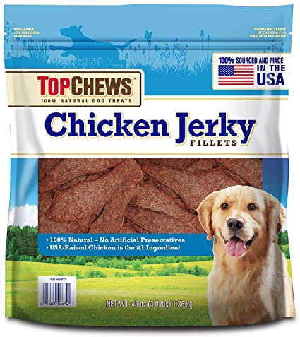 Top Chews Chicken Jerky Fillets Recipe 100% Natural Dog Treats