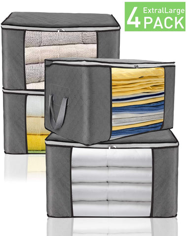 JINHODY Large Clothes Storage Bag Containers, Foldable Linen Storage Bags Organizer For King Comforter Blanket Bedding Pillow Quilt With Durable Zipper, Handle, Clear Window, Thick Fabric, 4 Pack Grey
