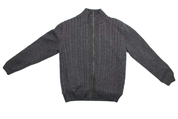 Boston Traders Men's Cable Knit Sweater with Sherpa Lining Pewter