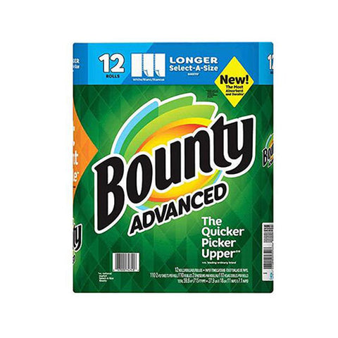 Bounty Advanced Select-A-Size Paper Towels - White - 12 Rolls