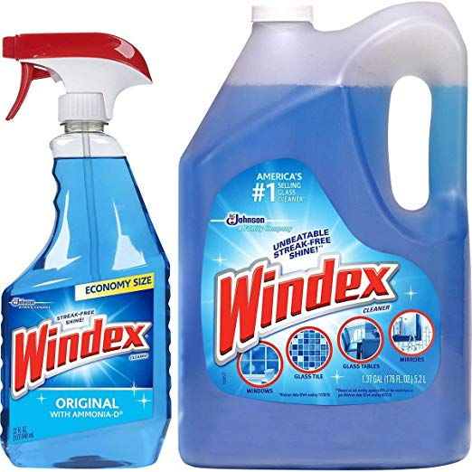 Mega Value Windex Original Glass & Multi Surface Cleaner Set: 32 oz. Trigger Spray + 1.37 Gallons Refill