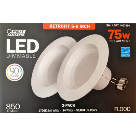 Feit Electric, LED 2 Pack Retrofit Kit, Replaces 5-6 inch, Soft white 2700K, 850