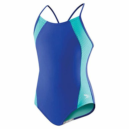 Speedo Girls Mesh Splice Crossback Swimsuit One Piece Dark Peri Blue