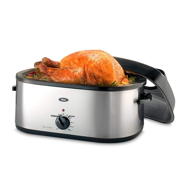 Oster 20-Quart Roaster with Self-Basting, High-Dome Lid, Brushed Stainless Steel