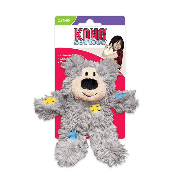 KONG Softies Patchwork Bear Catnip Toy
